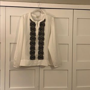 J crew blouse, cream and black, XXL